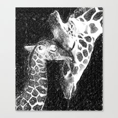 Giraffe mother love Canvas Print