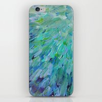 SEA SCALES - Beautiful Ocean Theme Peacock Feathers Mermaid Fins Waves Blue Teal Color Abstract iPhone & iPod Skin