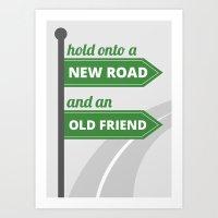 New road - old friend Art Print