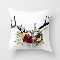 Floral Antlers VI Throw Pillow
