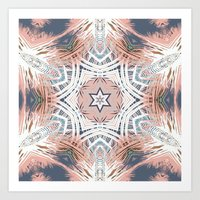 Tribe Coral and Steel Art Print