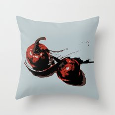 Tomato and red pepper kitchen art print Throw Pillow