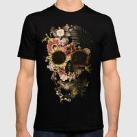 Garden Skull Light Mens Fitted Tee Black SMALL