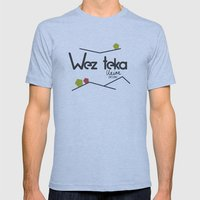 Wezteka Premium  Mens Fitted Tee Athletic Blue SMALL
