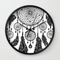 Dreamcatcher (Black & White) Wall Clock