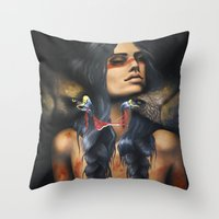 Running Eagle Throw Pillow