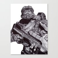 Master Chief Pen Drawing Canvas Print