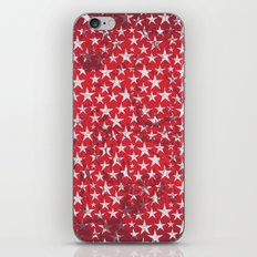 White stars on red grunge textured background  iPhone & iPod Skin
