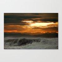 Winter Shorebreak At Sun… Canvas Print