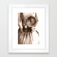 Girl With Camera Framed Art Print