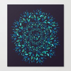 Blue Leaves Mandala Canvas Print