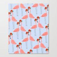 Flower Power Flamingos Canvas Print