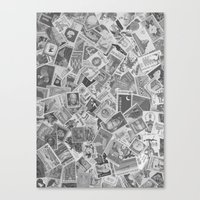 Vintage Postage Stamp Collection - 01 (BxW) Canvas Print