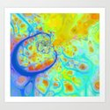Emerging Galaxies – Abstract Teal & Lime Currents Art Print