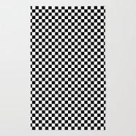 Black White Checks Rug