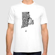 Typographic Rhode Island Mens Fitted Tee SMALL White