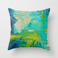 SEASIDE DREAMS - Beautiful Ocean Waves Teal Blue Turquoise Chartreuse Underwater Abstract Painting Throw Pillow