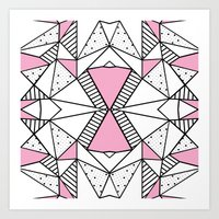 Abstract Spots and Stripes Pink Art Print