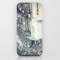 Green Umbrella In Snow iPhone 6 Slim Case