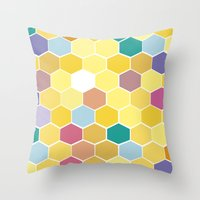 Honey Comb Turns Zesty Throw Pillow