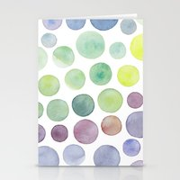 Dots Purple And Green Stationery Cards