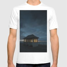 Cromer Pier Shelter at Dawn Mens Fitted Tee SMALL White