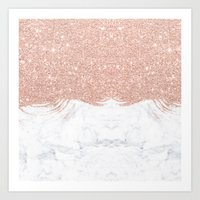 Trendy modern faux glitter rose gold brushstrokes white marble  Art Print