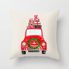 Red Christmas Car  Throw Pillow