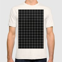 Mesmerising black and white plaid pattern Mens Fitted Tee Natural SMALL