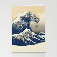The Great Wave of Pugs Vanilla Sky Stationery Cards