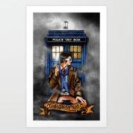 10th Doctor With Tardis … Art Print