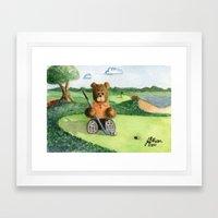 Golfer Bear Framed Art Print