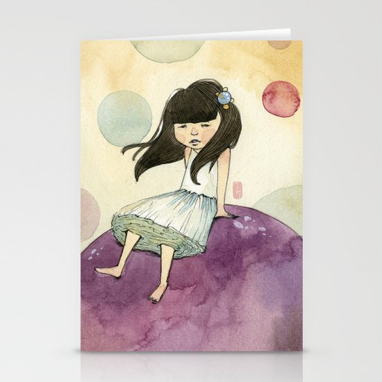 a bubble girl Stationery Card
