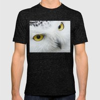 Snowy Owl Eyes Mens Fitted Tee Tri-Black SMALL