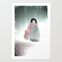 LITTLE PENGUIN WITH SCARF  Art Print