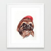 Sloth with Baseball Cap Framed Art Print