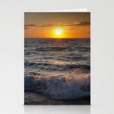 Lake Michigan Sunset with Crashing Shore Waves Stationery Cards