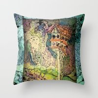Bird House and Muses Throw Pillow