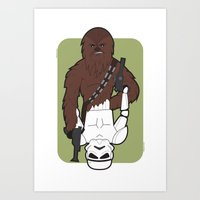 Chewbacca and Stormtrooper Art Print