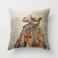 Camel at Giza Throw Pillow