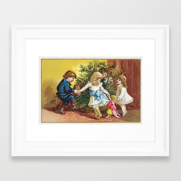 Vintage christmas card julekort framed art print by