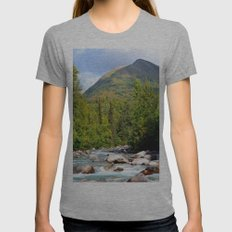 Mountain Stream - Alaska Womens Fitted Tee Athletic Grey SMALL