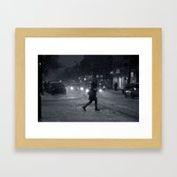 One Snowy Night in Montreal Framed Art Print