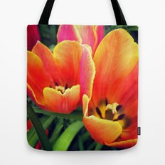 Coral Tulips in Bloom Tote Bag