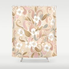 Floral curve pattern, rose gold Shower Curtain