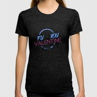 FU**YOU VALENTINE'S DAY Womens Fitted Tee Tri-Black SMALL