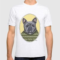 French Bulldog Mens Fitted Tee Ash Grey SMALL