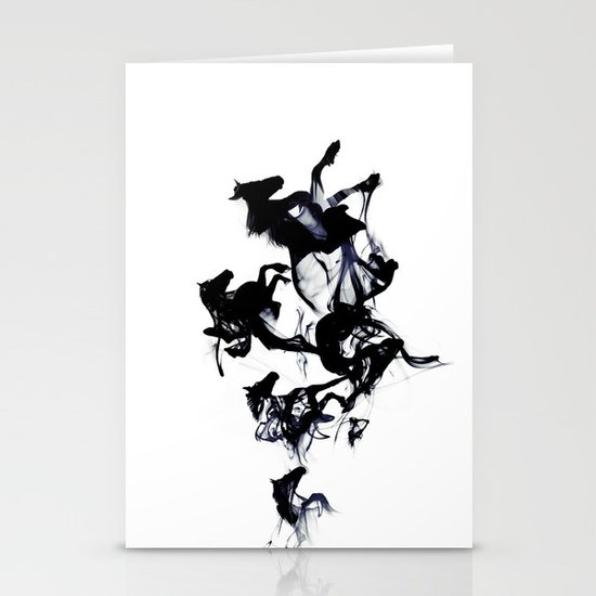 Black horses Stationery Card