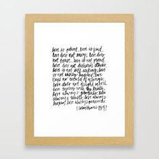 love is patient, love is kind Framed Art Print