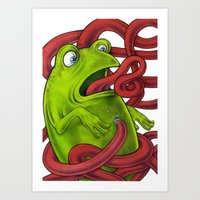 Frogs eat Insects Art Print
